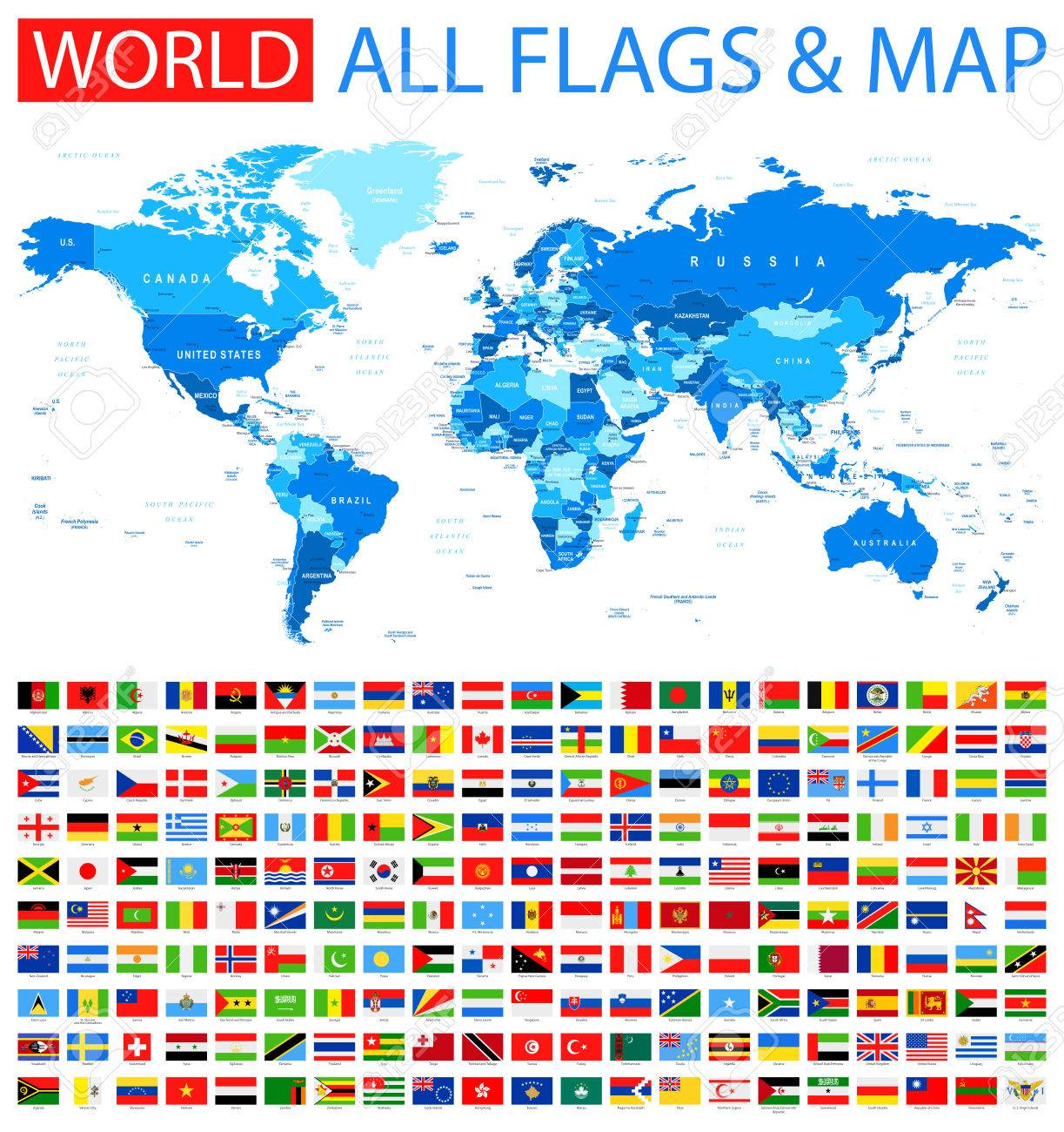 World map countries zil gallery diagram writing sample ideas and all flags and world map royalty free cliparts vectors and stock all flags and world map sciox Images