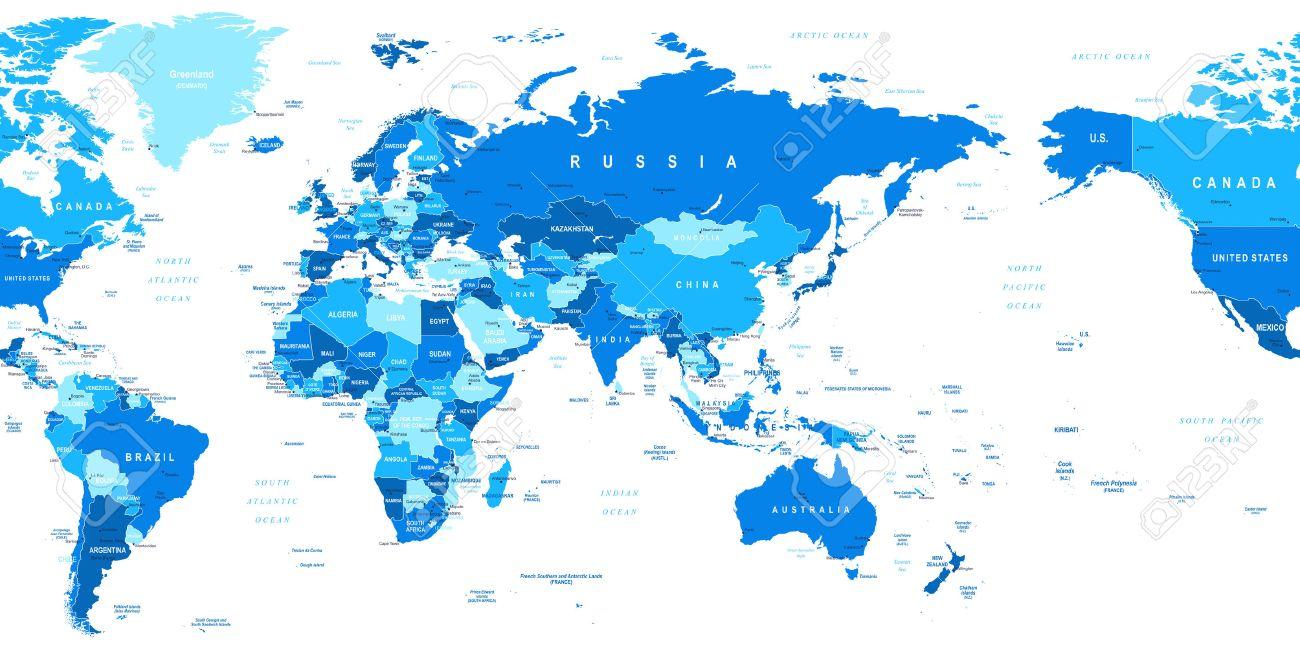 Kaart van de wereld azi in het centrum zeer gedetailleerde kaart van de wereld azi in het centrum zeer gedetailleerde vector illustratie van de thecheapjerseys Choice Image