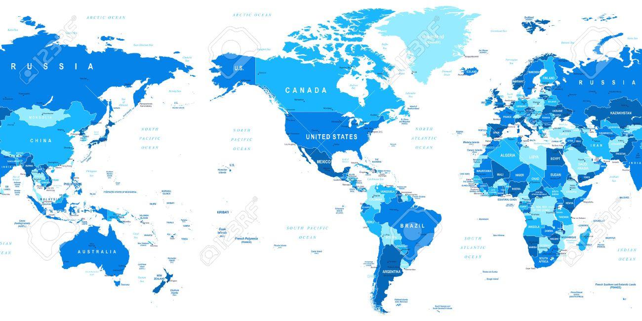 Weltkarte Amerika In Der Mitte Sehr Detaillierte Vektor