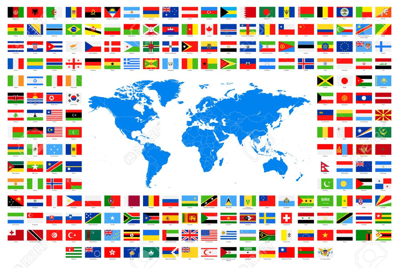 Map Of World Flags.All Flags And World Map Vector Collection Of World Flags And