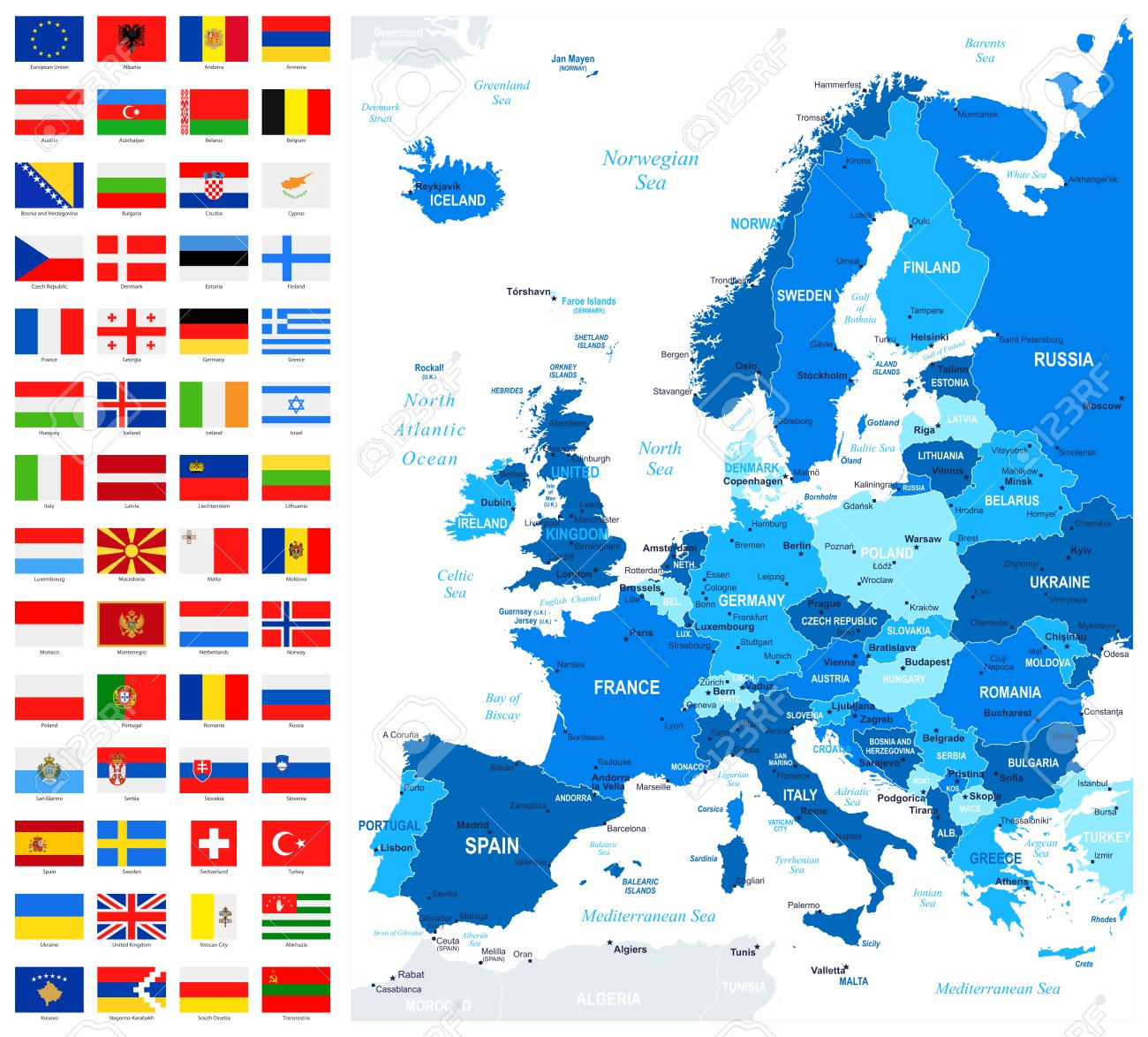 map and flags of europe full vector collection vector set of flat european flags