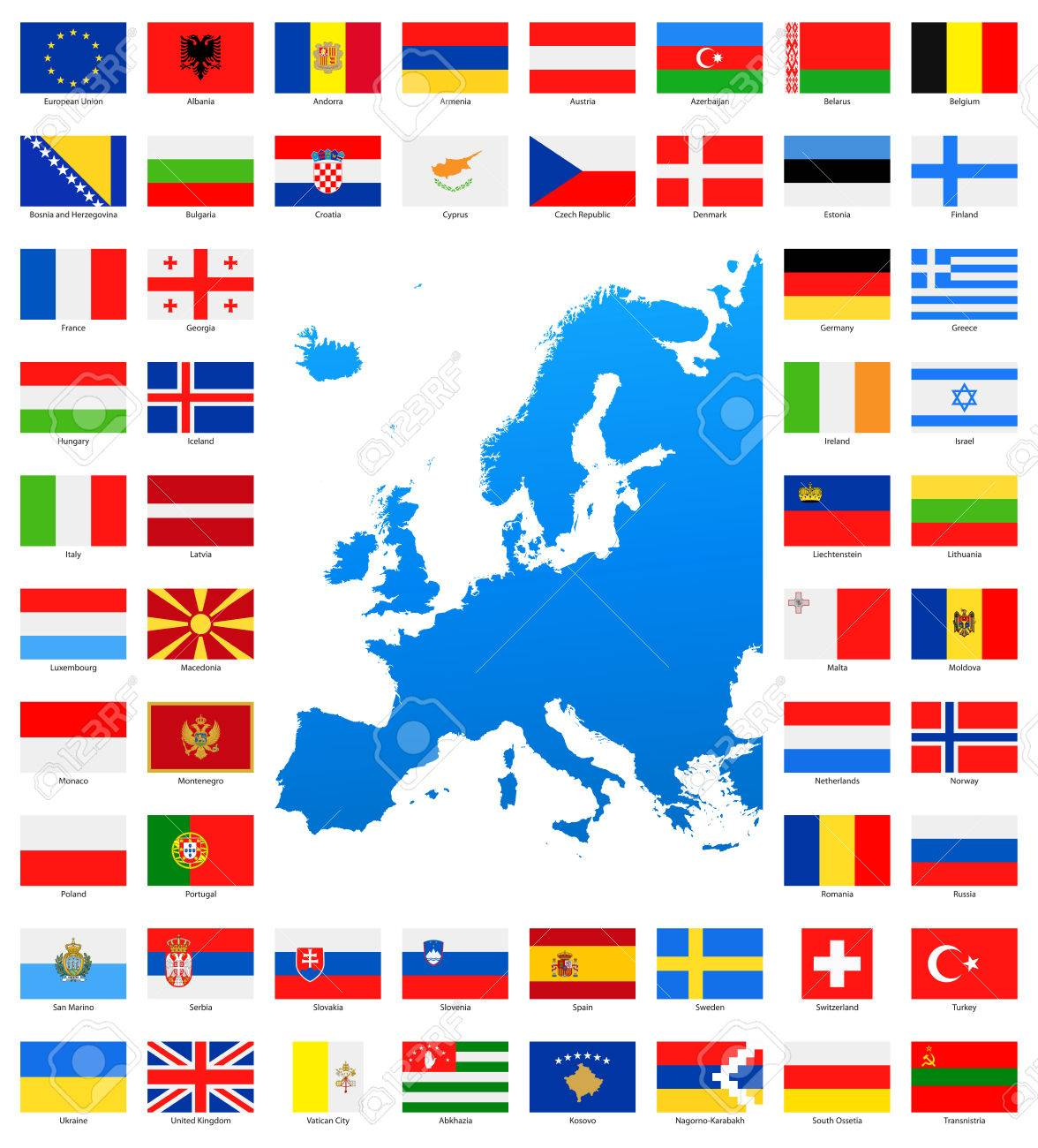 map and flags of europe full collection set of flat european flags and map