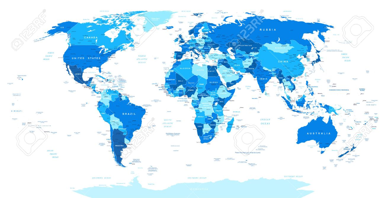 Blue World Map Borders Countries And Cities Illustration - Us map with city and state names