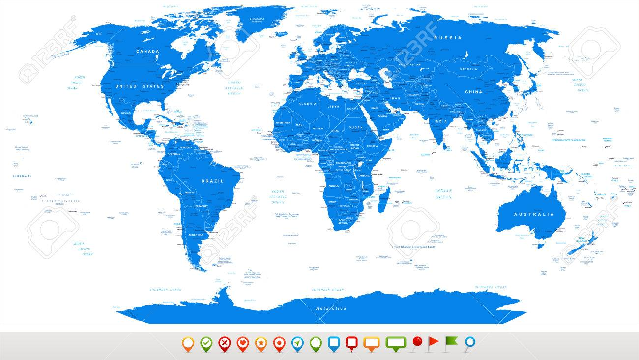 Blue world map and navigation icons illustration highly detailed blue world map and navigation icons illustration highly detailed world map countries gumiabroncs Gallery