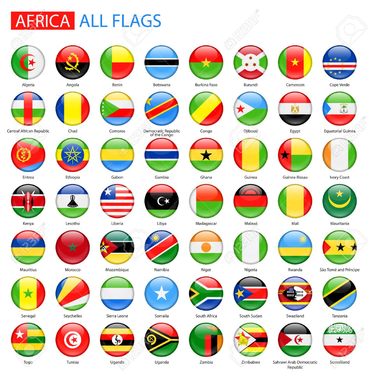 Round Glossy Flags of Africa - Full Collection. Set of African Flag Buttons. - 50153393