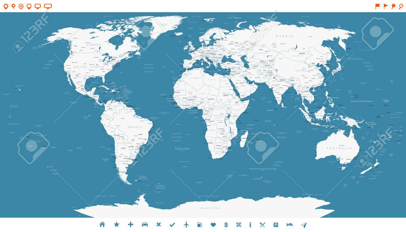 Steel blue world map and navigation icons illustration highly steel blue world map and navigation icons illustration highly detailed world map countries gumiabroncs