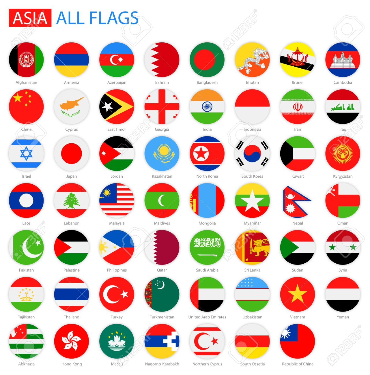 Flat Round Flags of Asia - Full Vector Collection. Vector Set of Flat Asian Flags. - 51014031
