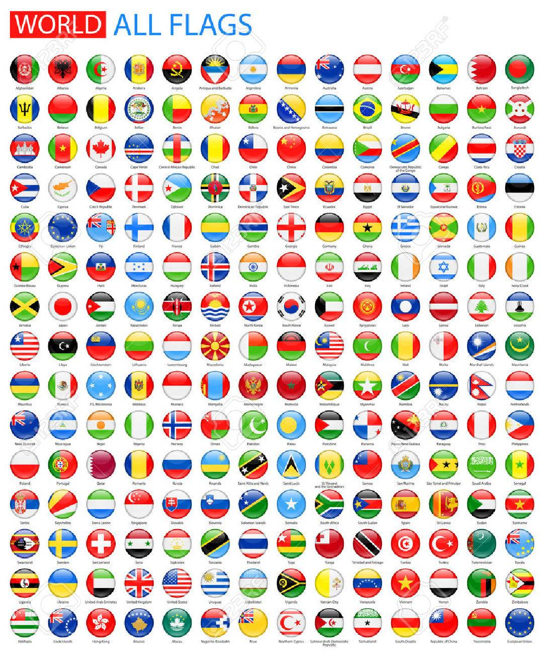 Round Glossy All World Vector Flags. Vector Collection of Flag Icons. - 51014417
