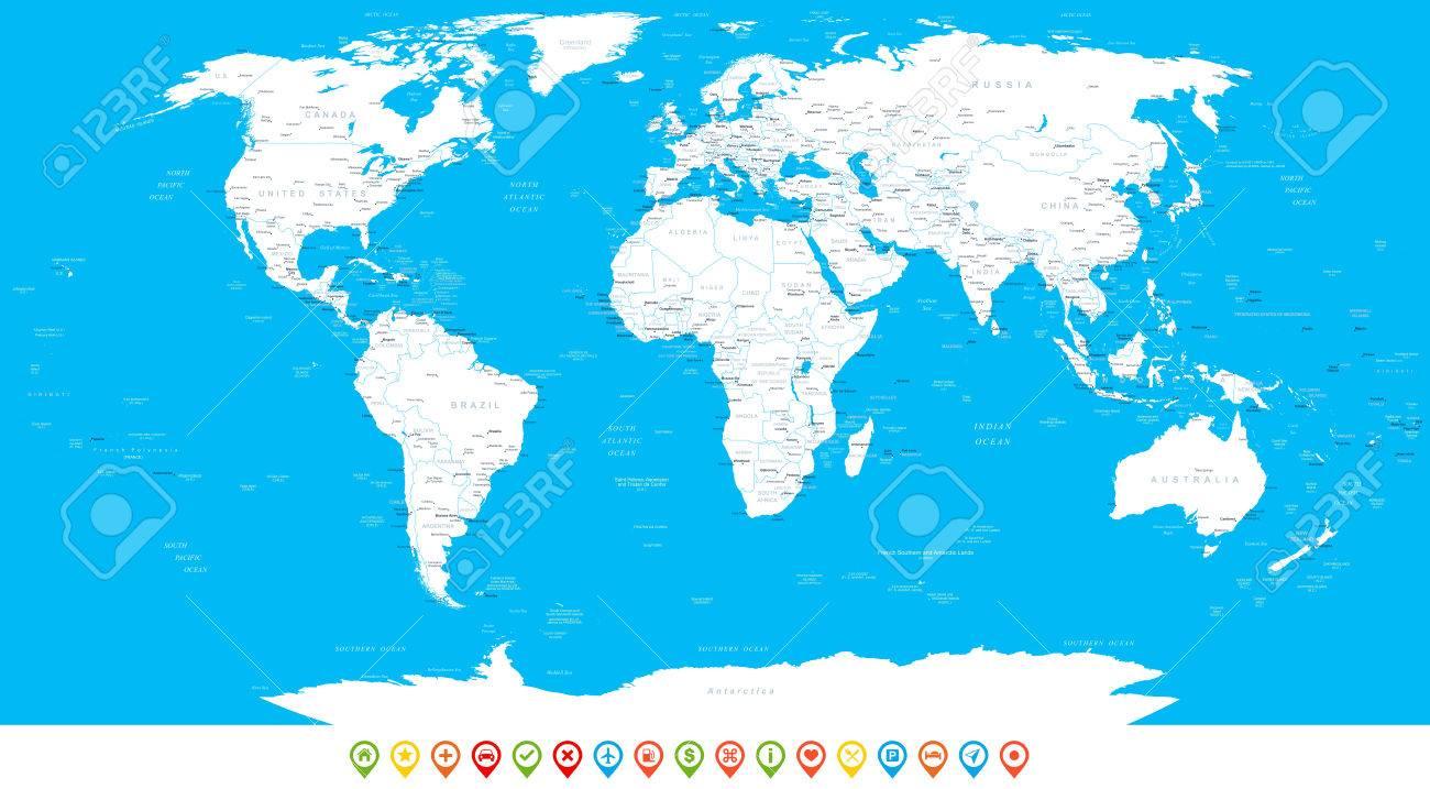 Erstaunlich Weltkarte Mit Städten Dekoration Von Weiß Und Navigationsikonen - Abbildung. Sehr Detaillierte