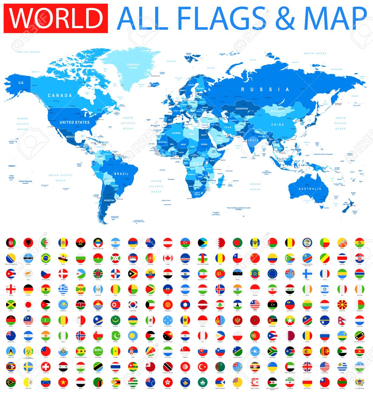All Round Flags and World Map - 61584521