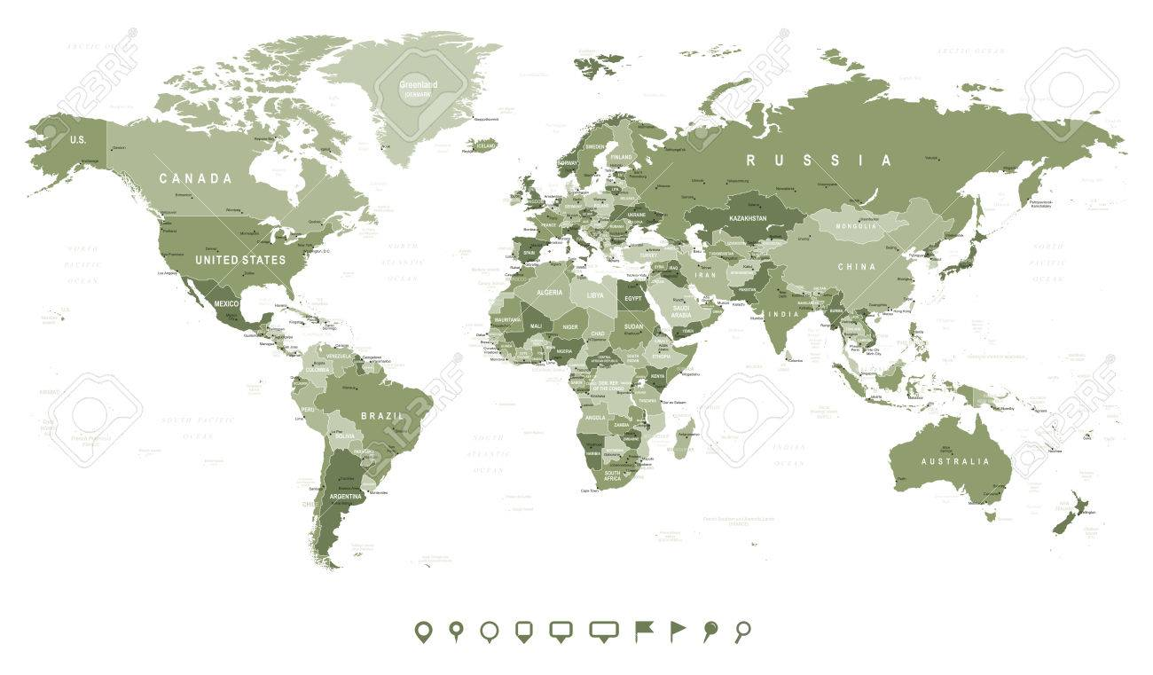 Swamp green world map borders countries and cities illustration swamp green world map borders countries and cities illustration stock vector 61826060 gumiabroncs Choice Image