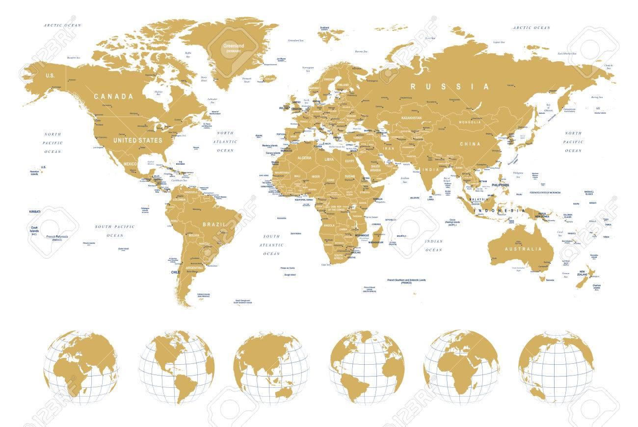 Golden World Map - Grenzen, Länder, Städte Und Globen - Illustration ...