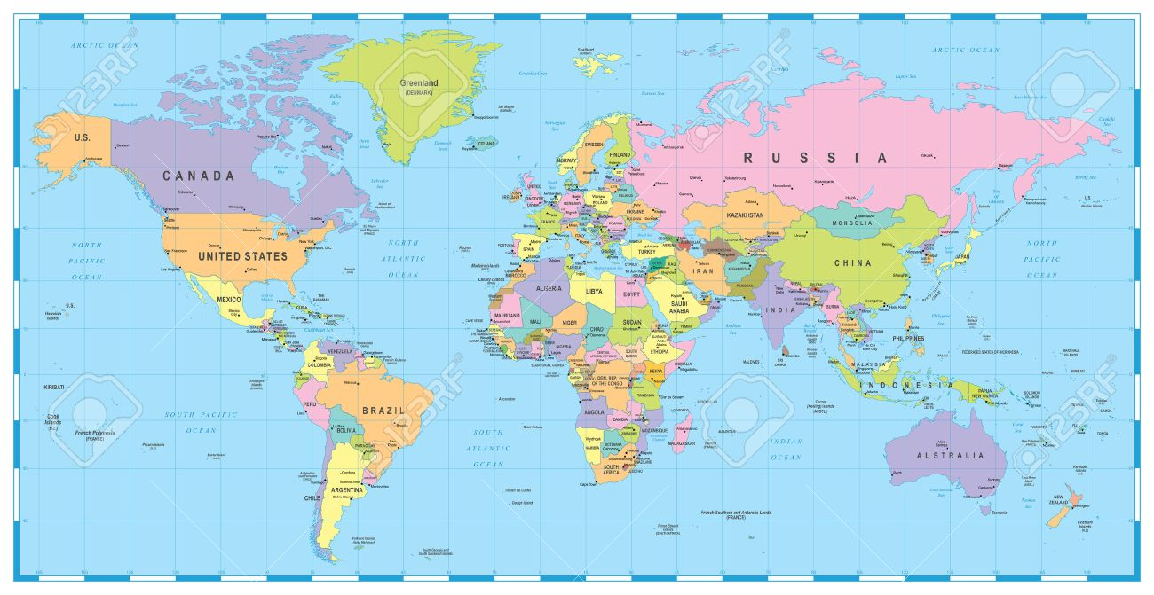 Colored World Map Borders Countries And Cities Illustration