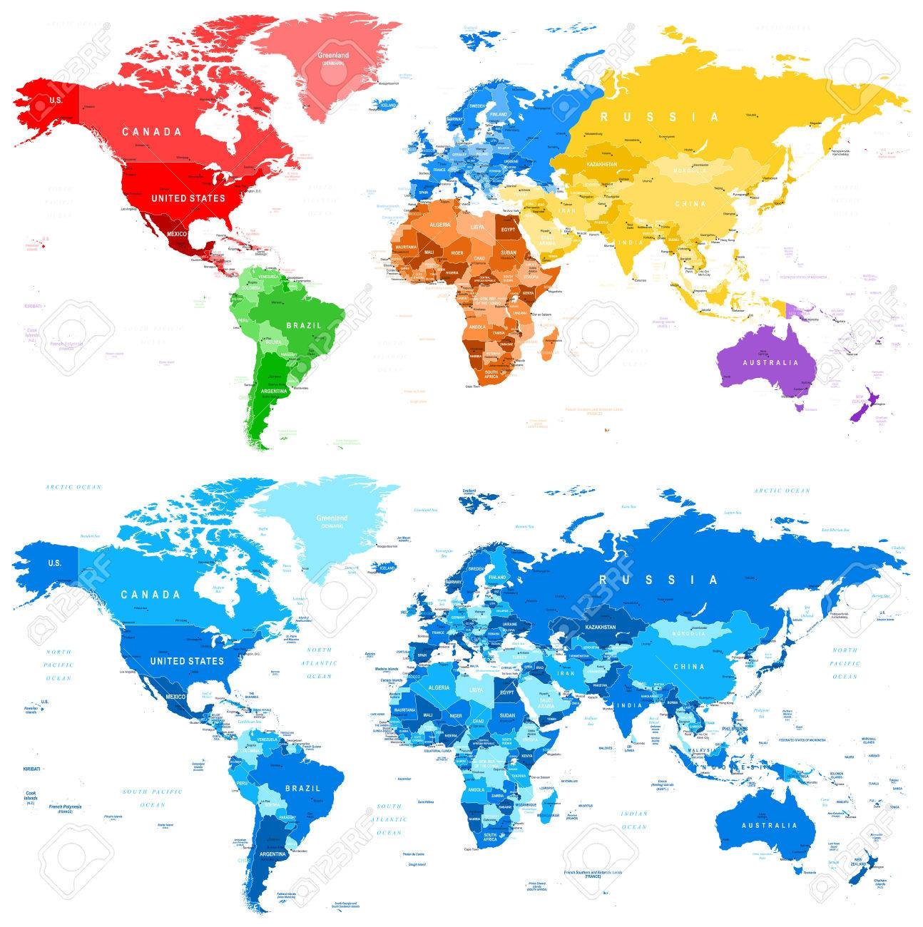 Spotted color and blue world map borders countries and cities spotted color and blue world map borders countries and cities illustration stock vector gumiabroncs Gallery