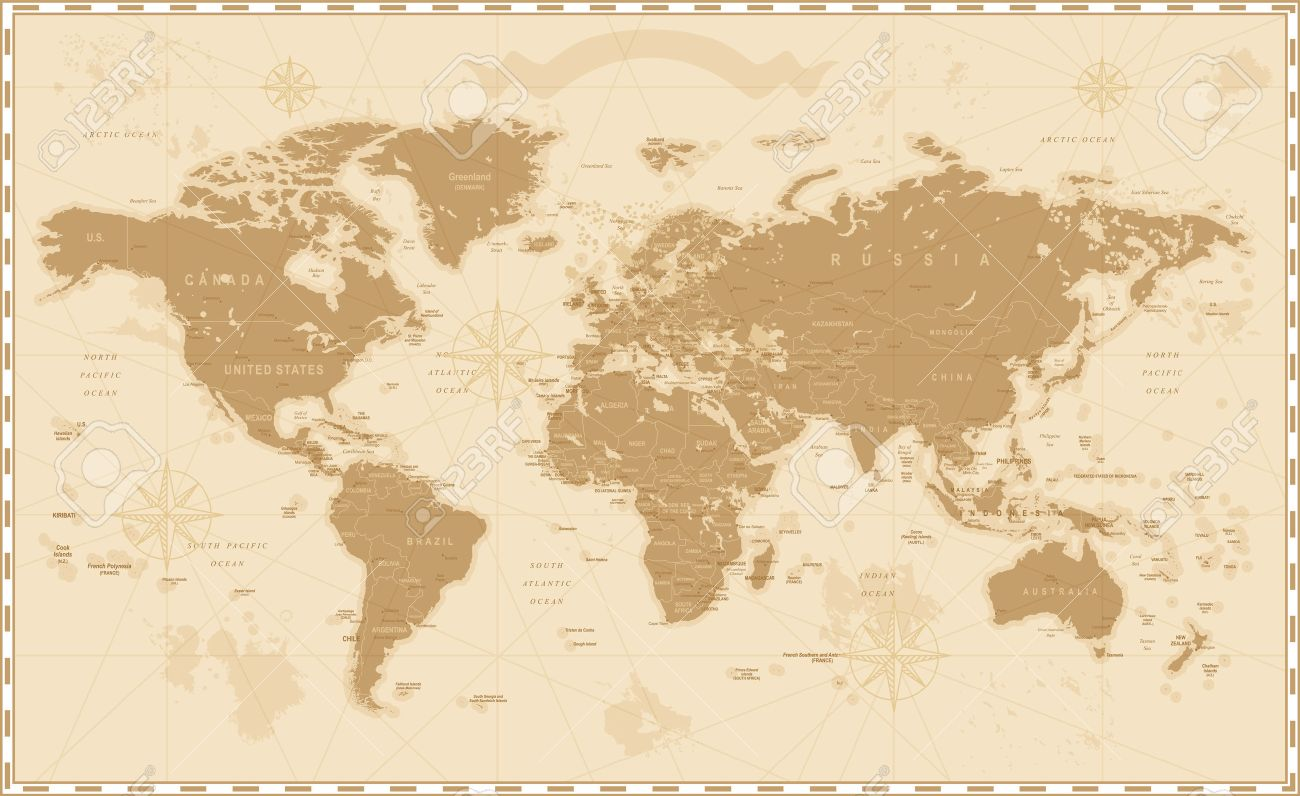 Old Vintage Retro World Map Royalty Free Cliparts Vectors And