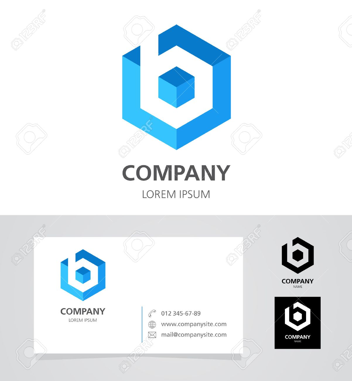 Letter B - Logo Design Element With Business Card - Illustration ...