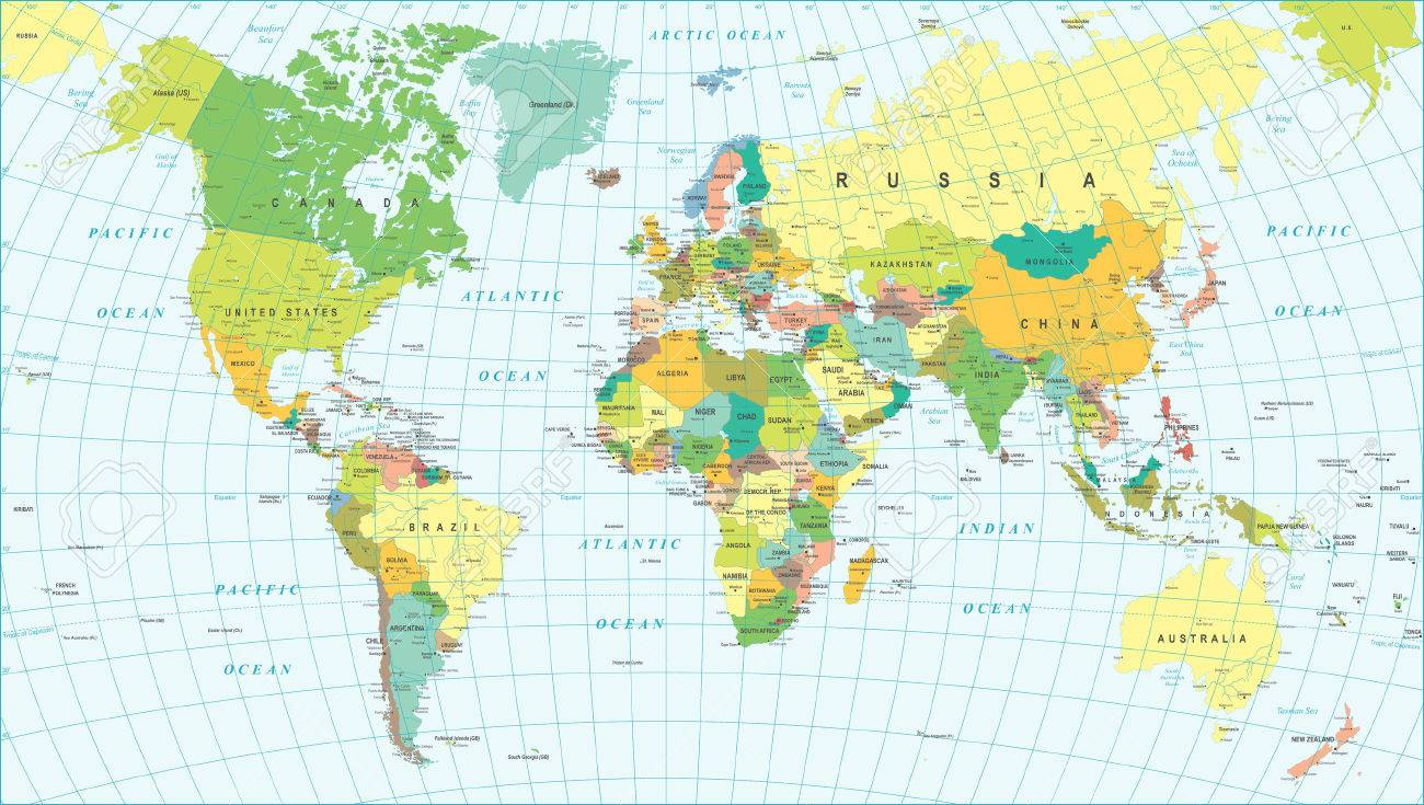 Colored World Map Borders Countries And Cities Illustration - World map cities