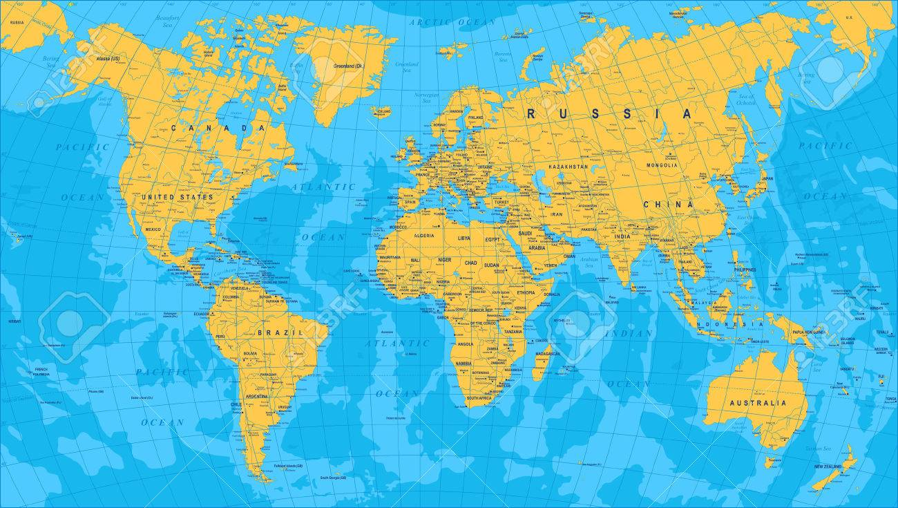 Yellow Blue World Map Borders Countries And Cities Illustration