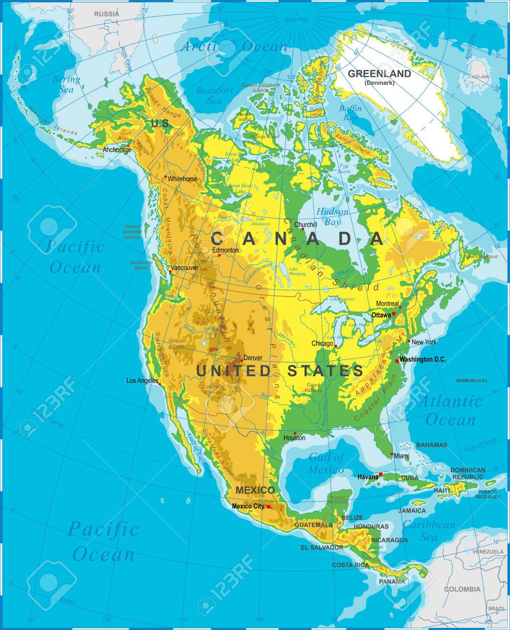 Highly Detailed Colored Illustration Of North America Map Borders - North america map countries