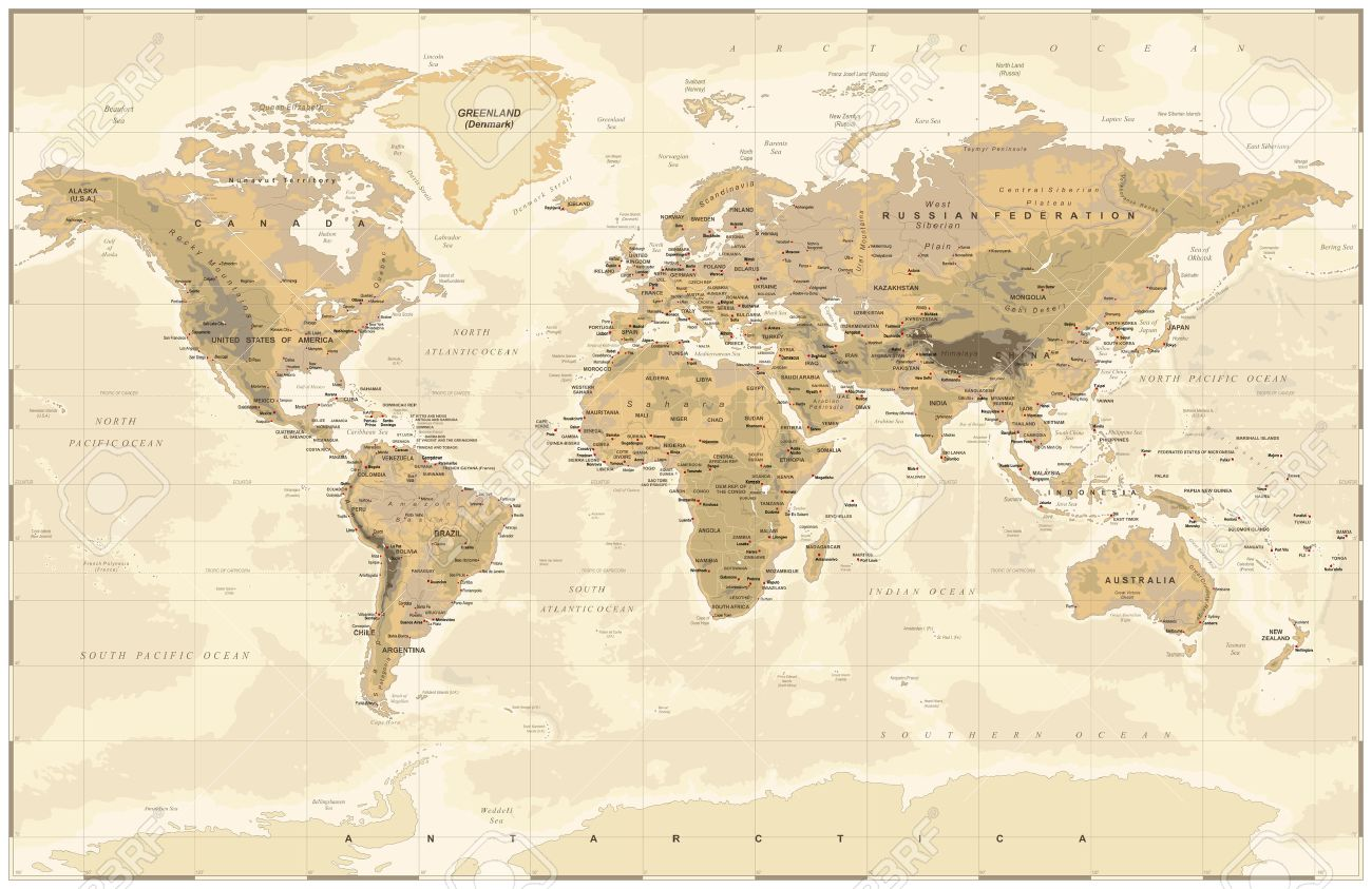 Vintage old vector world map royalty free cliparts vectors and vintage old vector world map stock vector 64883086 gumiabroncs Image collections