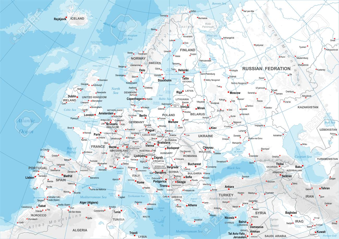 Karte Von Europa Mit Städten.Stock Photo