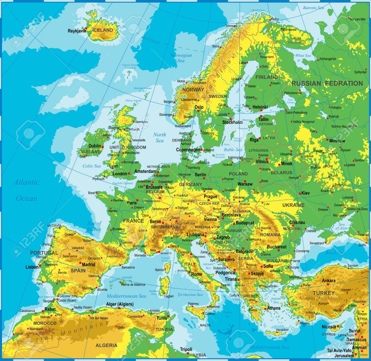 highly detailed colored vector illustration of europe map borders