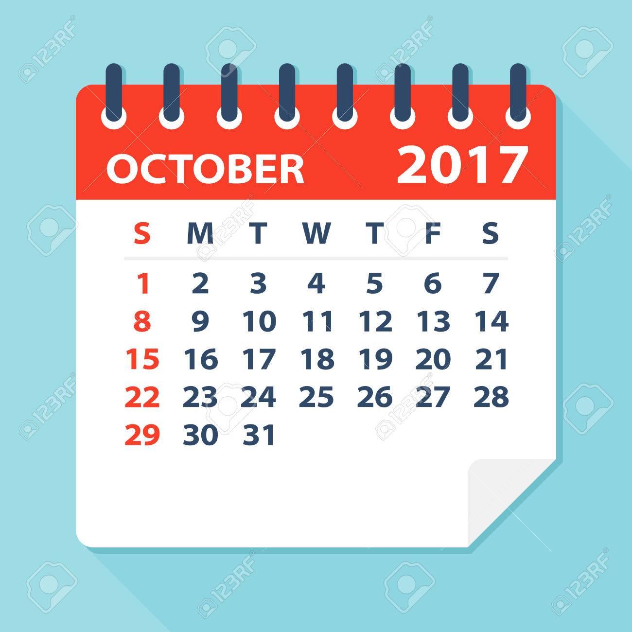 October Calendar 2017 Clipart – Printable Editable Blank Calendar 2017