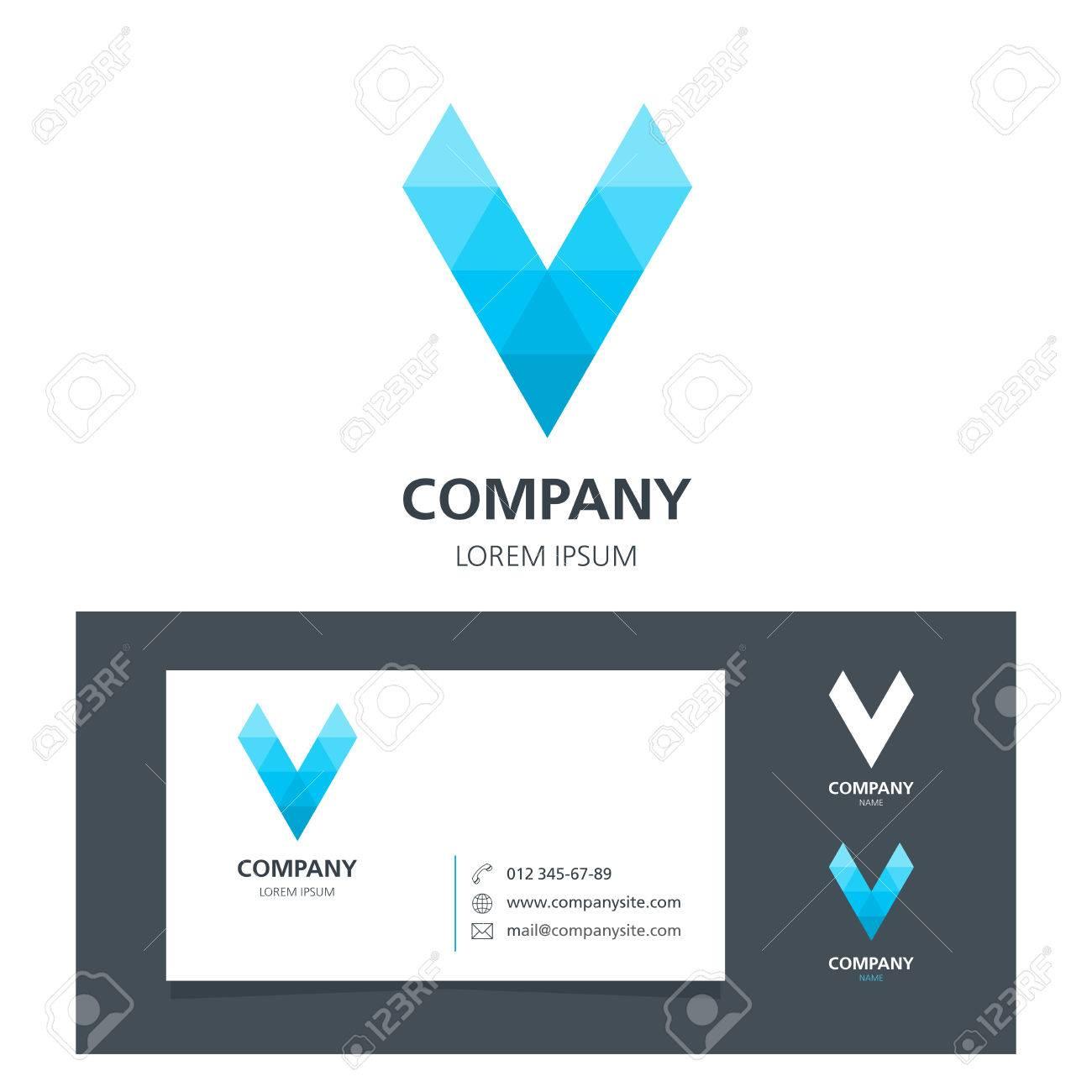 Letter v logo design element with business card royalty free imagens letter v logo design element with business card reheart Images