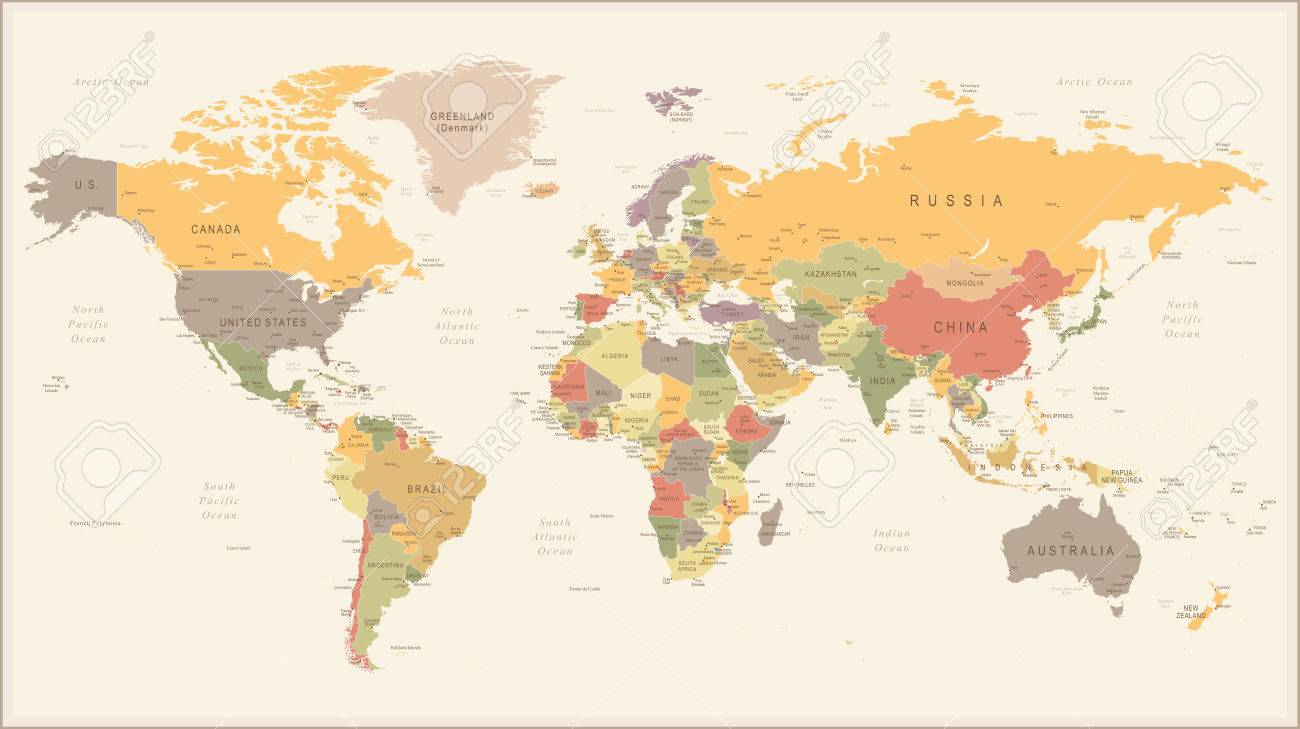 Vector Illustration Of Retro World Map Royalty Free Cliparts