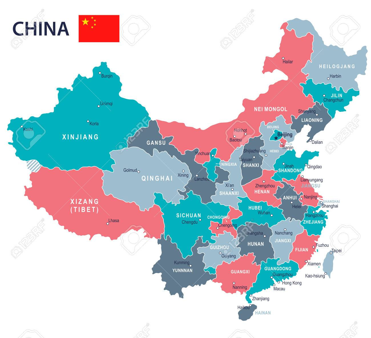 China Map And Flag Highly Detailed Vector Illustration Royalty