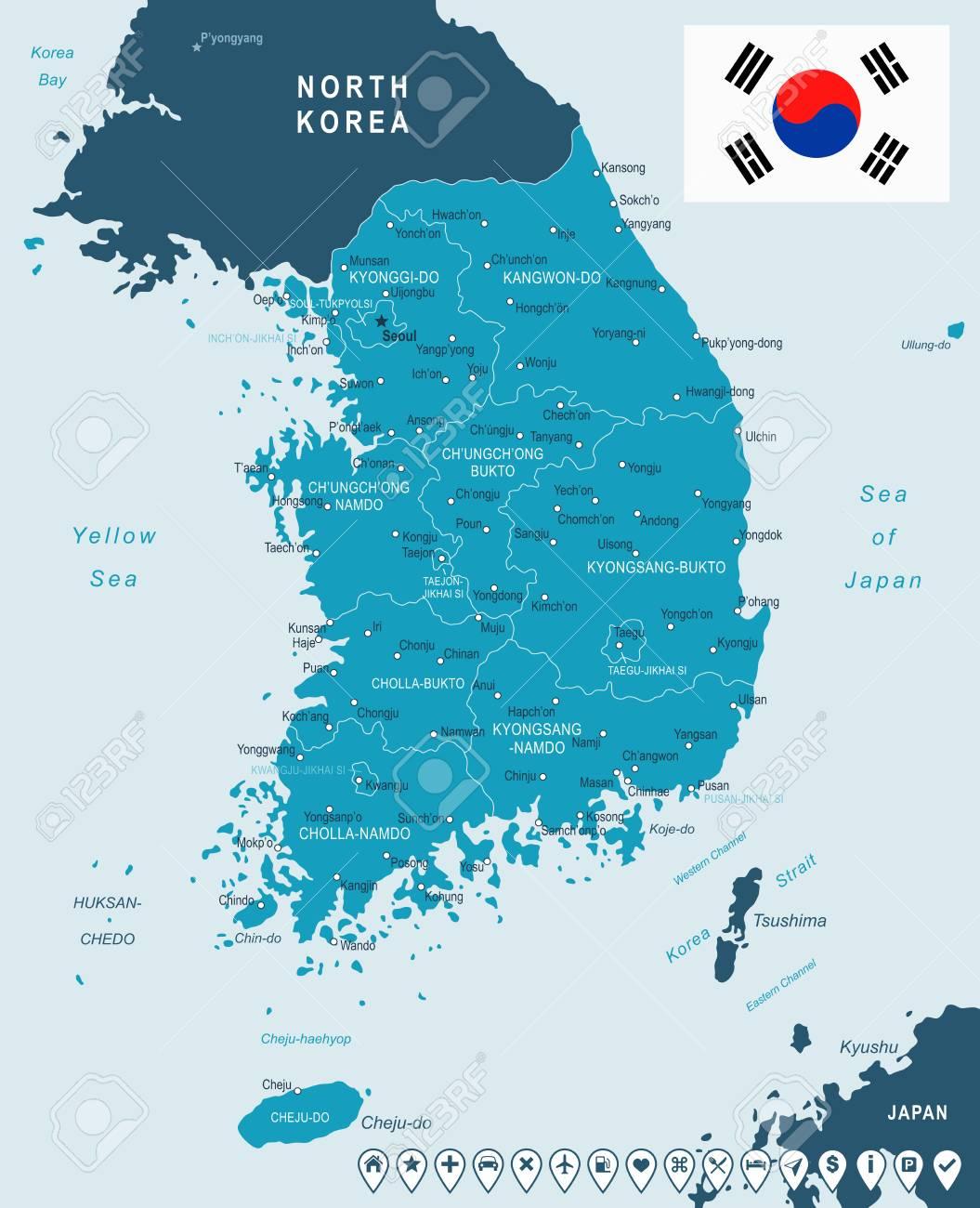 South Korea map and flag - highly detailed vector illustration on mekong river map, grand canal map, luzon strait map, monaco bay map, taklamakan desert map, hangzhou bay, florida bay map, bohai sea, indonesia map, gulf of tonkin map, mongolian plateau map, yellow sea map, mu us desert map, tatar strait map, korea water park, south bay map, korean empire map, bo hai map, mexico bay map, yellow sea, pacific ocean map, yalu river, the aquariums of pyongyang, goryeo map, qinghai lake map, liaodong bay, north pyongan,