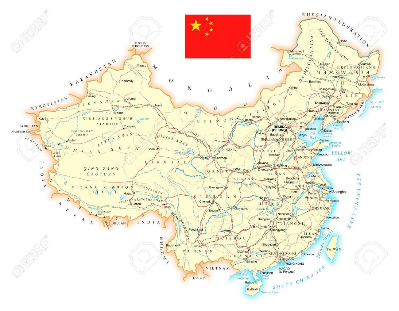 topographische karte china China   Große Detaillierte Straße Topographische Karte   Vektor
