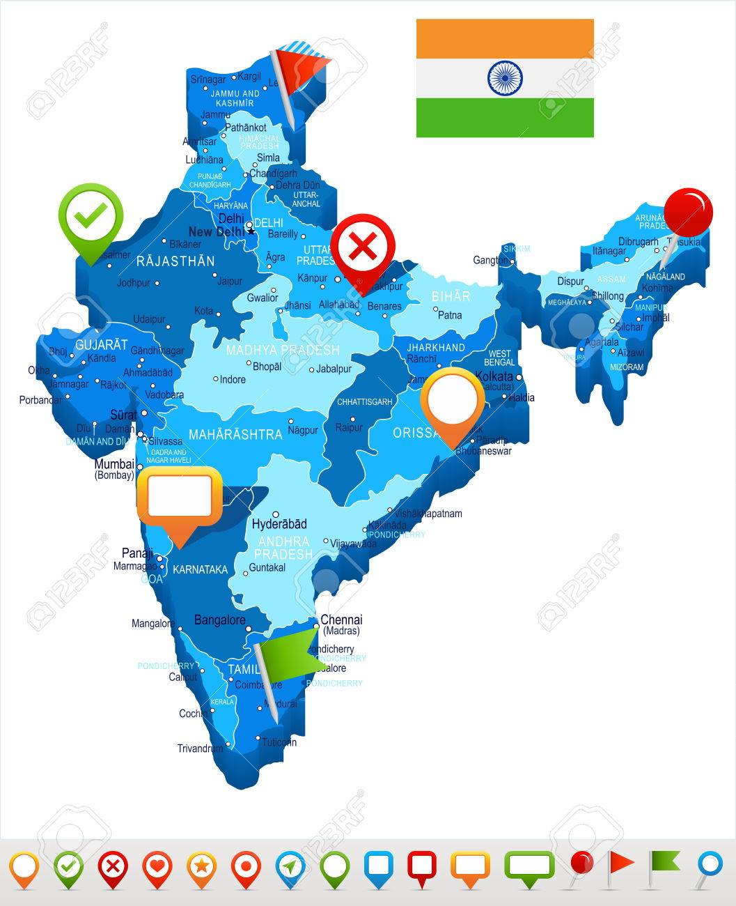 Madras India Map.India Map And Flag Highly Detailed Vector Illustration Royalty
