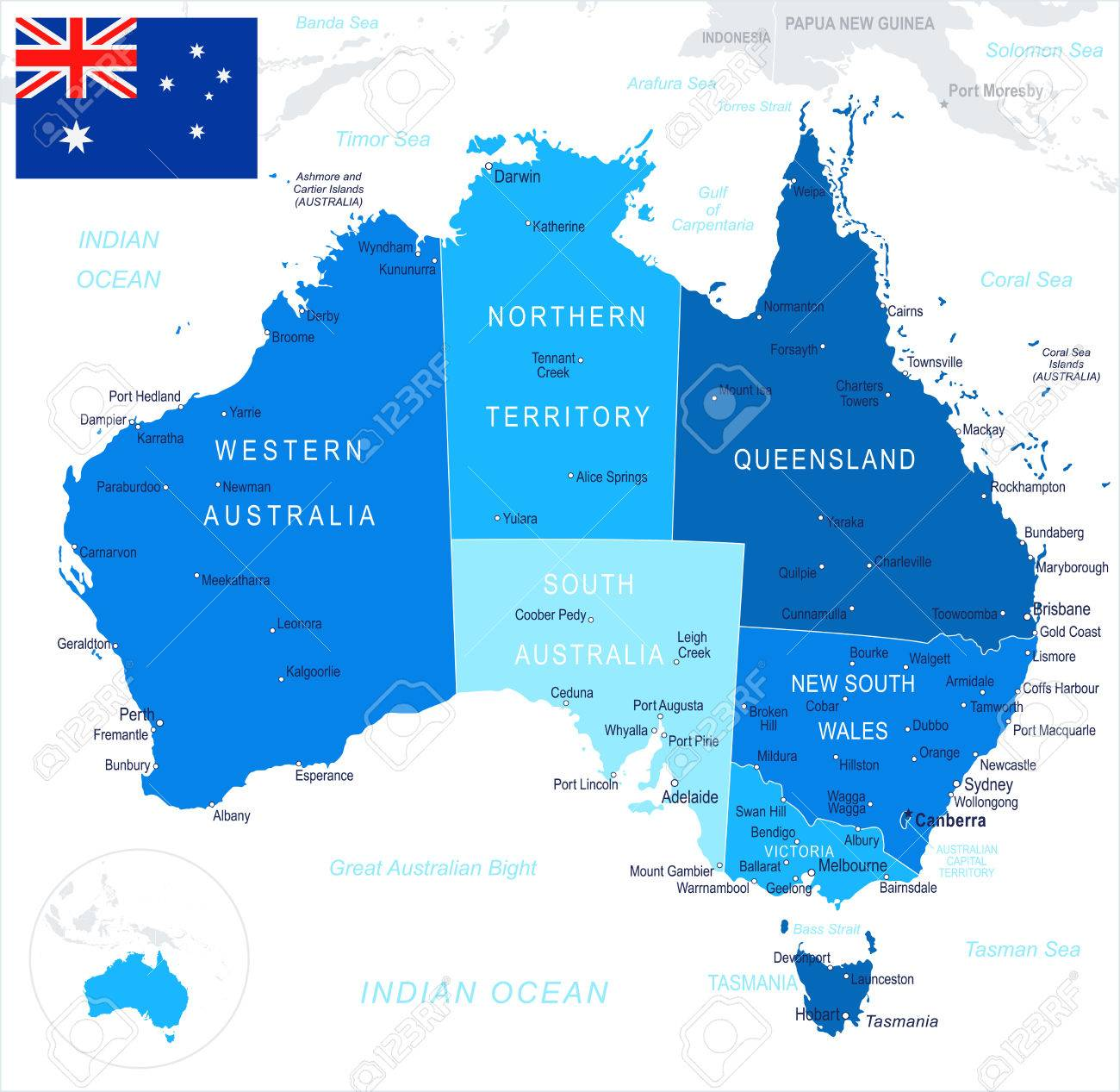 australia map and flag highly detailed vector illustration stock vector 76578906