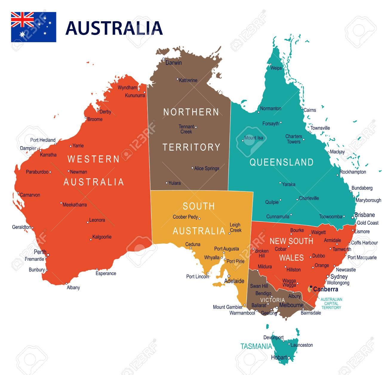 Australia Map Dubbo.Australia Map And Flag Highly Detailed Illustration Royalty Free