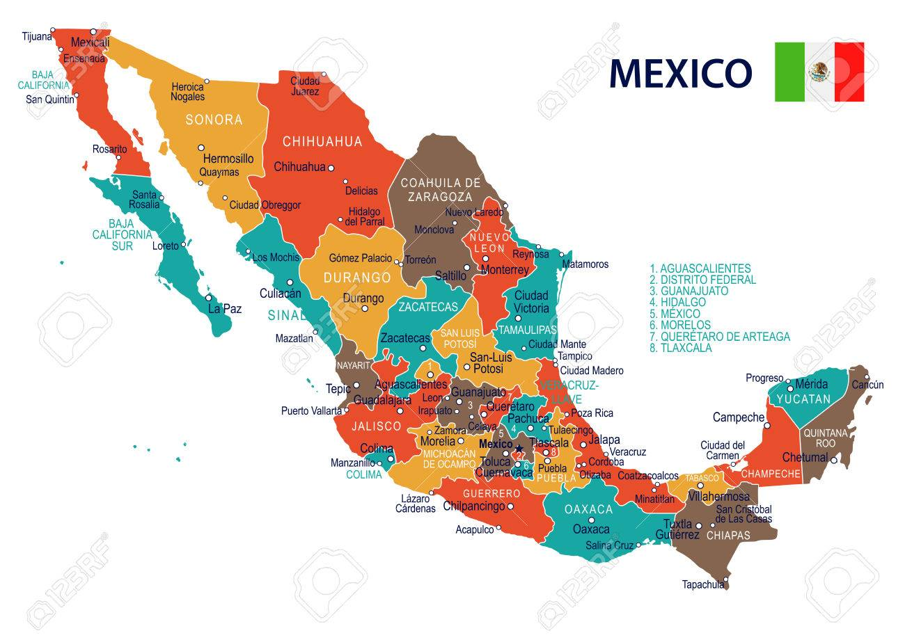 Mexico Map And Flag Highly Detailed Vector Illustration Royalty