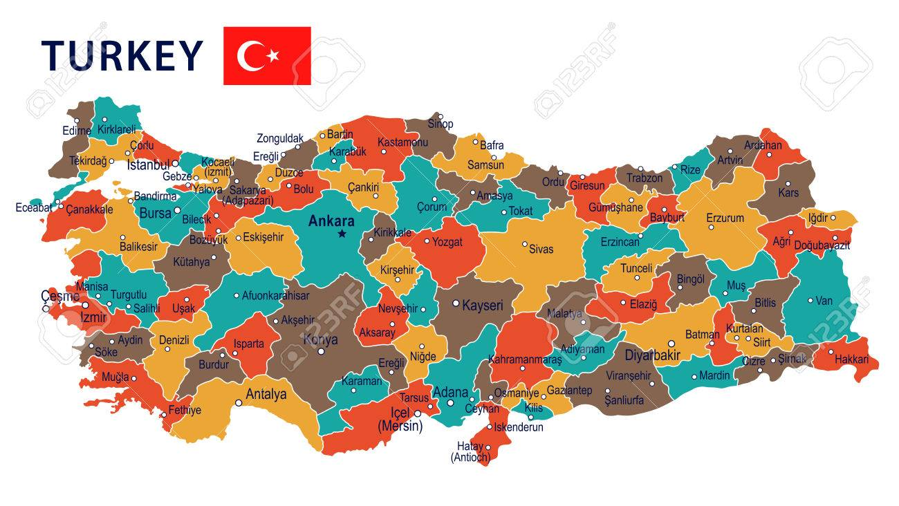 Turkey Map And Flag Highly Detailed Vector Illustration Royalty