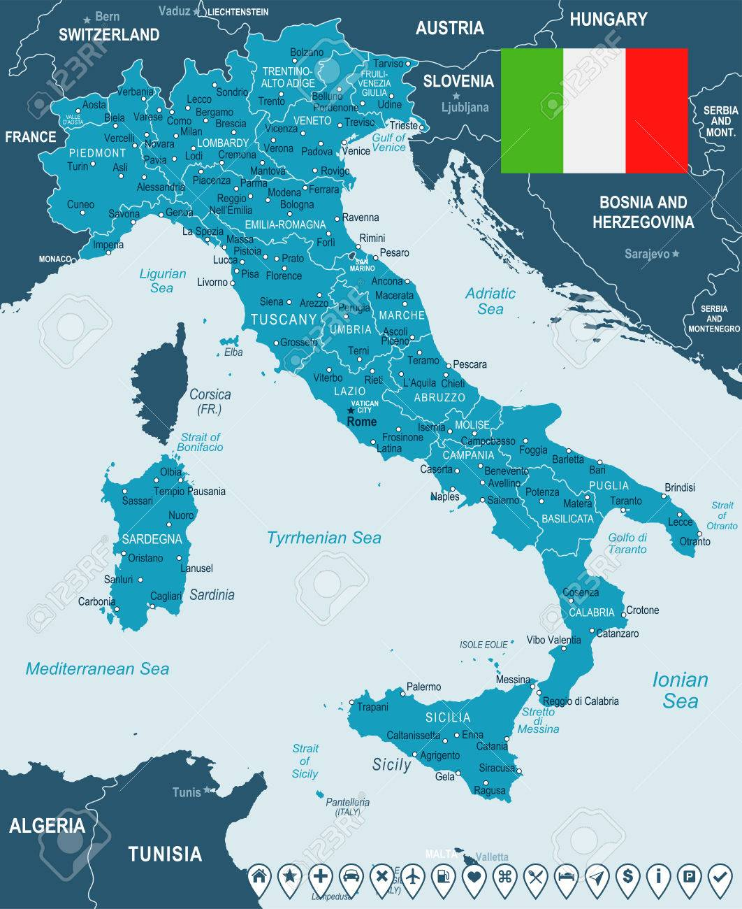 Forli Italy Map.Italy Map And Flag Highly Detailed Vector Illustration Royalty
