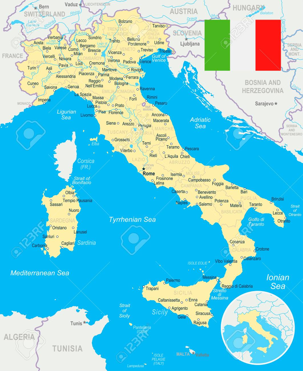 Italy Map And Flag Highly Detailed Vector Illustration Clip Art