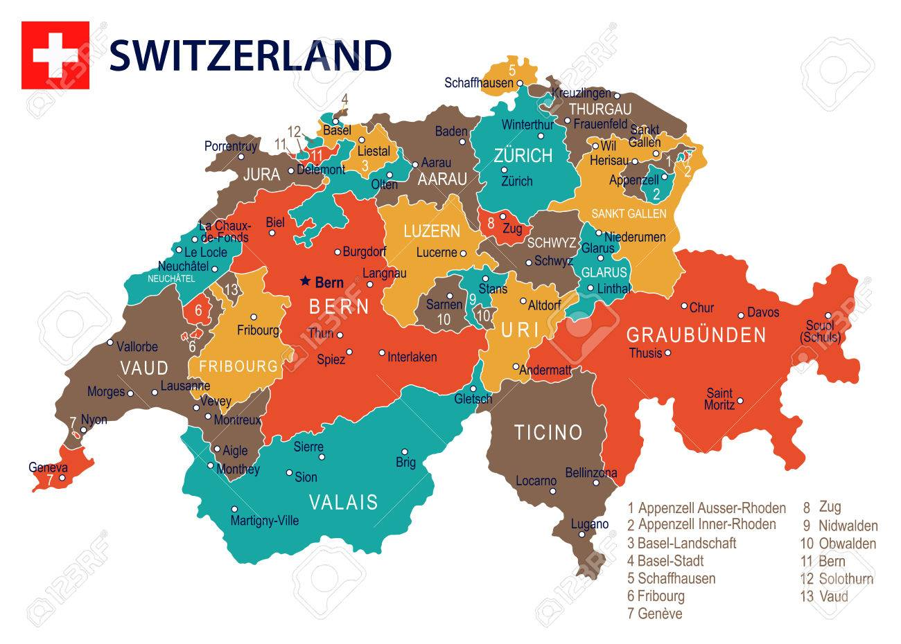 Switzerland Map And Flag Highly Detailed Vector Illustration
