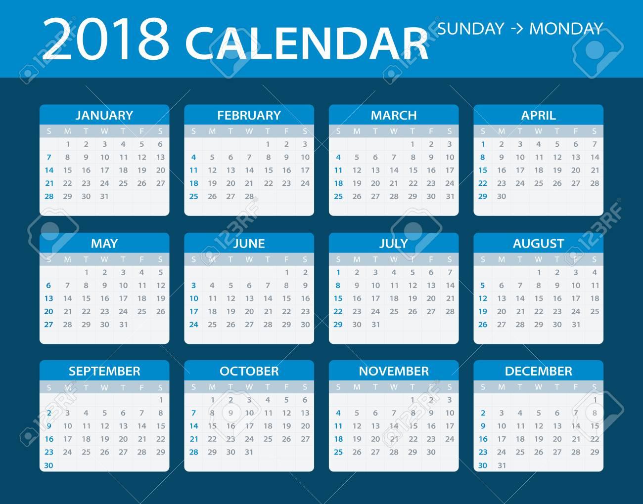 vector vector template of color 2018 calendar sunday to monday