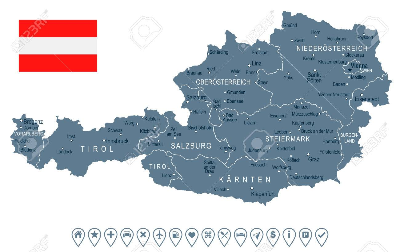 Austria Map And Flag Vector Illustration Royalty Free Cliparts