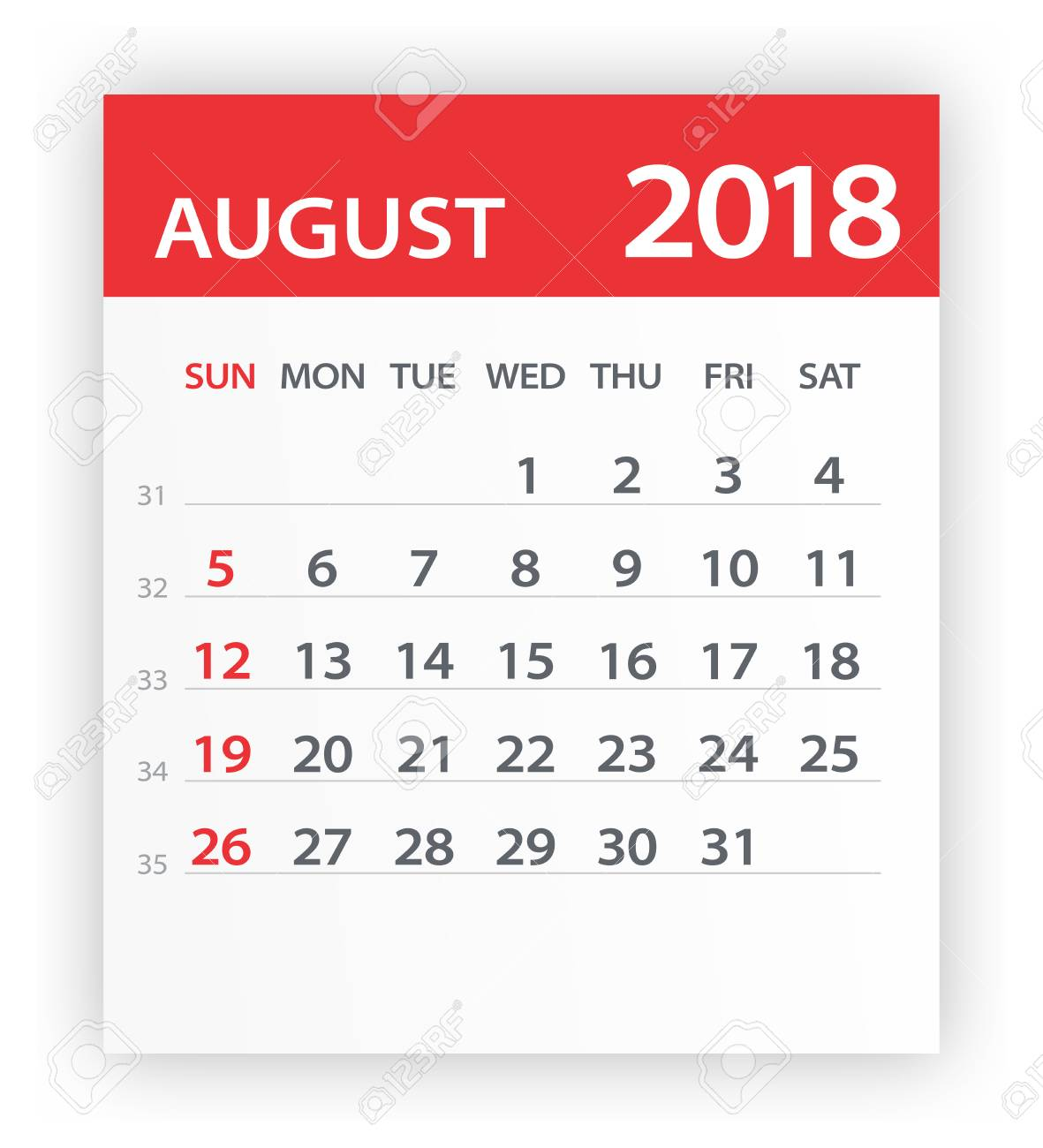august 2018 calendar leaf vector illustration stock vector 80601511