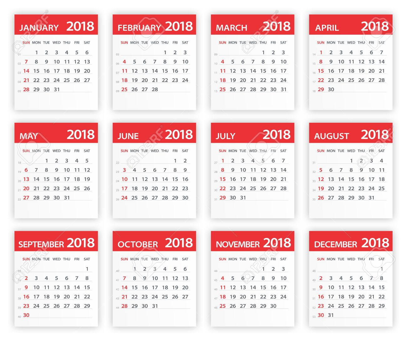 2018 Calendar Leaves   Vector Illustration Royalty Free Cliparts