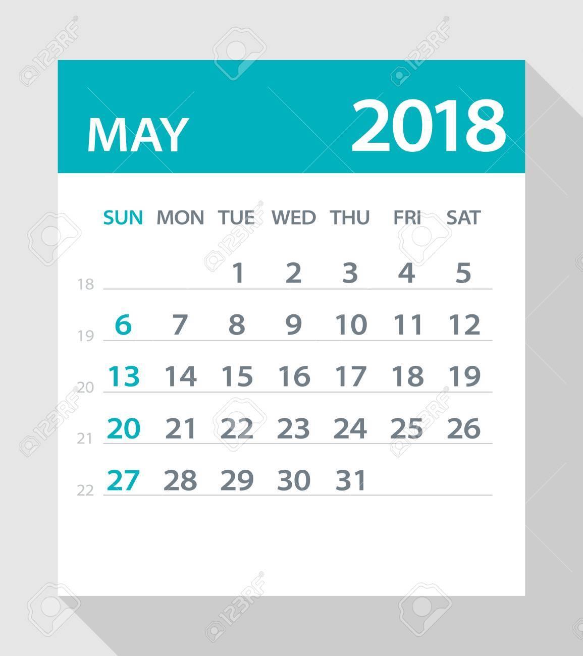 may 2018 calendar leaf vector illustration stock vector 80602299