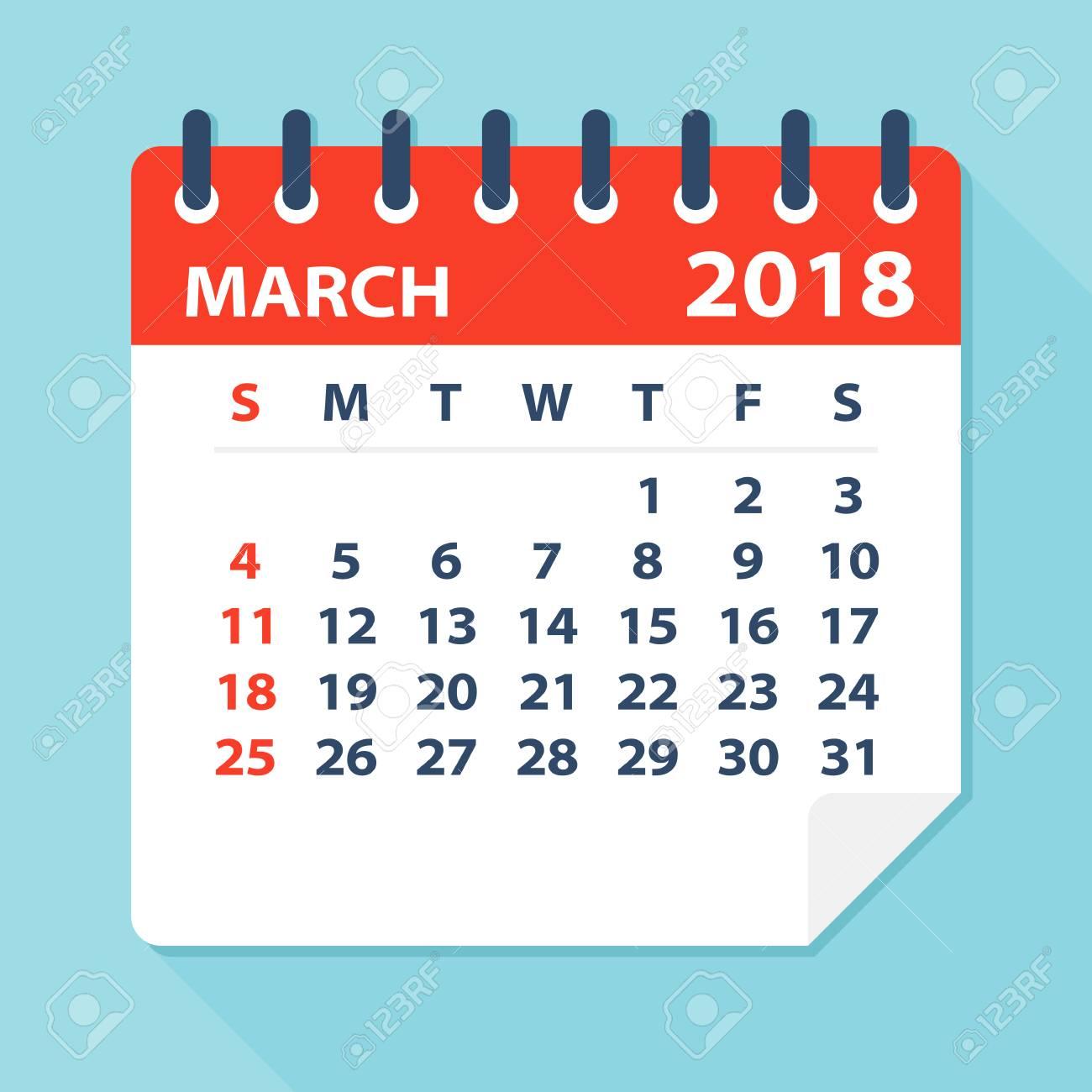 march 2018 calendar leaf flat vector illustration stock vector 80625614