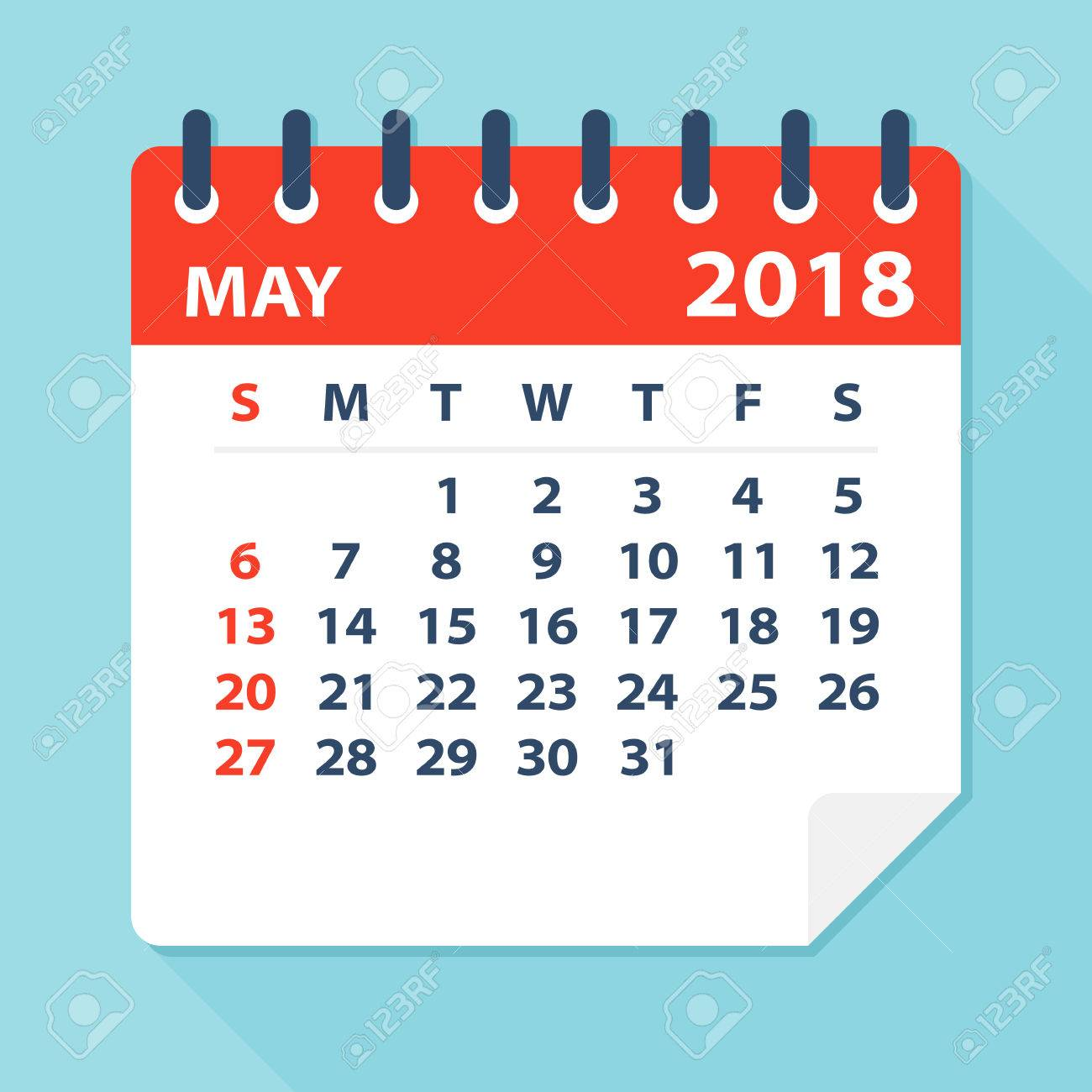 may 2018 calendar leaf flat vector illustration stock vector 80625625