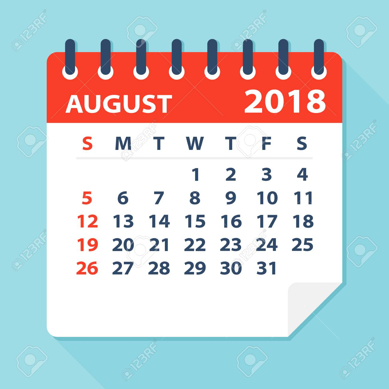 august 2018 calendar leaf flat vector illustration stock vector 80623873