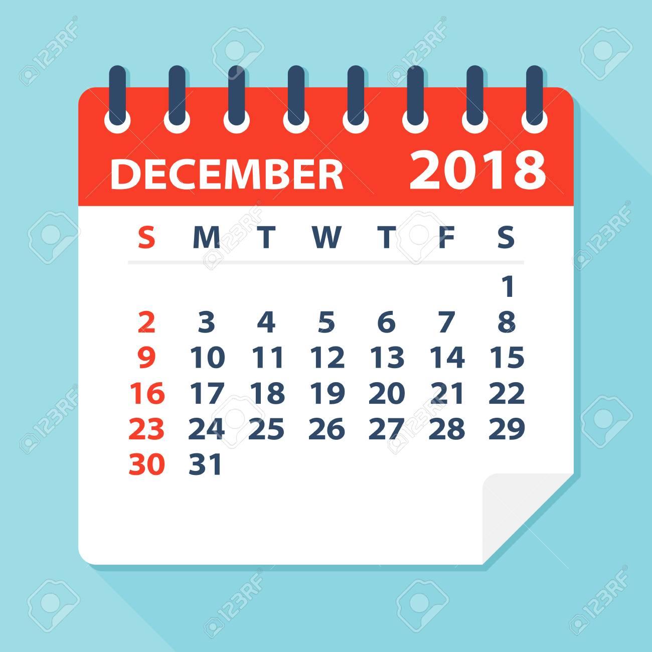 December 2019 Calendar With Clipart December 2018 Calendar Leaf   Flat Vector Illustration Royalty