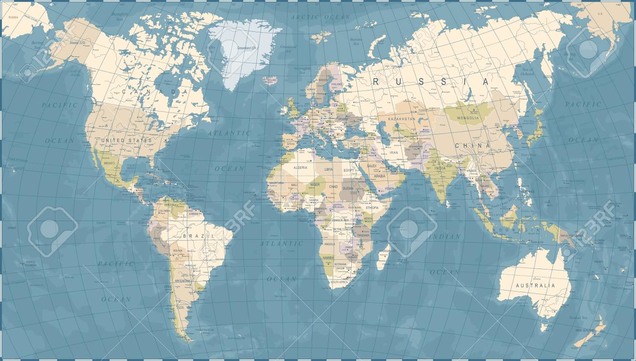 Vintage world map detailed vector illustration royalty free vector vintage world map detailed vector illustration gumiabroncs Gallery